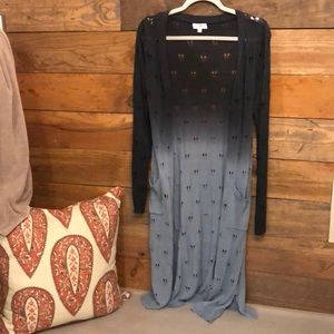 Blue two toned duster cardigan NWOT, small